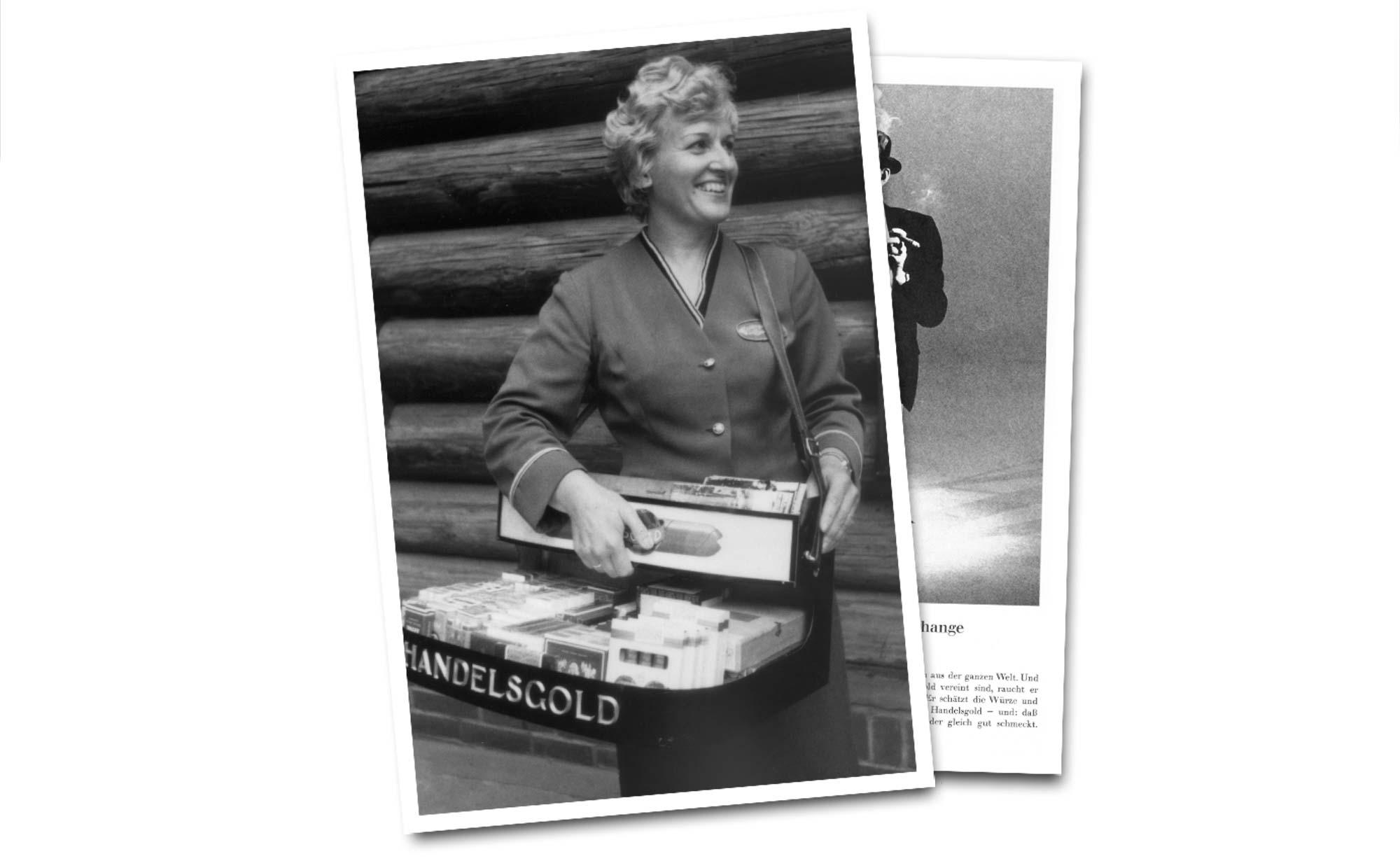 Bauchladenverkäuferin mit Handelsgold-Zigarren
